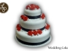 Black Ribbon Red Roses Wedding Cake